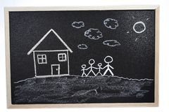 Chalkboard drawing Stock Photography