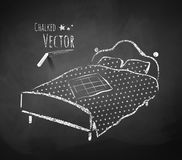 Chalkboard drawing of bed Stock Photos