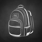 Chalkboard drawing of school bag Stock Photos