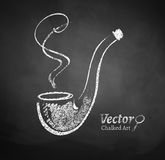 Chalkboard drawing of smoking pipe Royalty Free Stock Photography