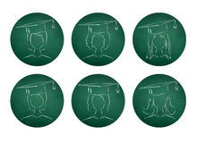 Chalkboard drawings of degree students Royalty Free Stock Photos