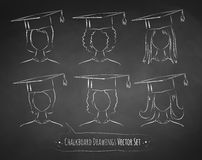 Chalkboard drawings of students. Vector collection of chalkboard drawings of students wearing graduation cap Stock Images