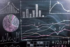 On the chalkboard drawn graphics and patterns of growth and reduction of cryptocurrency. Business training school stock photography