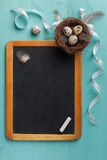 Chalkboard and easter decoration Royalty Free Stock Photo