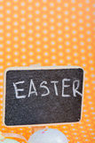 Chalkboard with Easter eggs Stock Image