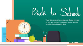 Chalkboard Empty Teacher Desk Back To School Banner Royalty Free Stock Photos