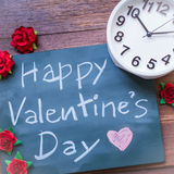 Chalkboard With English Text Happy Valentines Day. Many Red rose Royalty Free Stock Photo