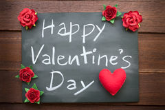 Chalkboard With English Text Happy Valentines Day. Many Red rose Stock Photography