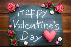 Chalkboard With English Text Happy Valentines Day. Many Red rose Stock Photo