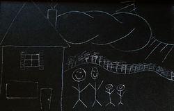 Chalkboard Family. An illustration with chalk of a family standing beside their house Stock Photography