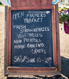 Chalkboard with farmers market Royalty Free Stock Photo
