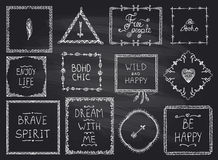 Chalkboard fashion hand drawn frames and philosophy quote phrases mega set in boho style, hippie, indie style Stock Image