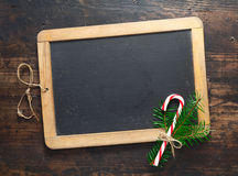 Chalkboard with festive candy cane Stock Photos