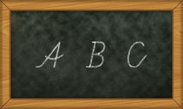 Chalkboard with first letters ABC. Illustration of a school board with letters ABC Stock Photos