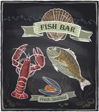 Chalkboard fish bar hand drawn illustration. Chalkboard fish bar. Eps10 vector Stock Photo