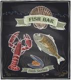 Chalkboard fish bar hand drawn illustration. Stock Photo