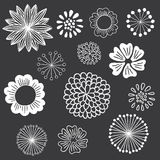 Chalkboard Floral Elements Set. Set of hand-drawn chalkboard floral design elements Stock Images