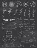 Chalkboard Flowers and Ribbons Design Elements Stock Photos