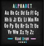Chalkboard font. Hand draw alphabet. Stock Image