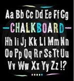 Chalkboard font. Hand draw alphabet. Royalty Free Stock Photos