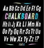 Chalkboard font. Hand draw alphabet. Royalty Free Stock Photography