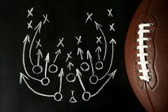 Chalkboard with football game scheme and rugby ball. Top view stock images