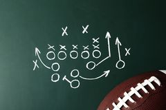 Chalkboard with football game scheme and rugby ball. Top view royalty free stock photography
