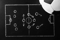 Chalkboard with football game scheme and soccer ball. Top view stock photos