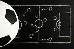 Chalkboard with football game scheme and soccer ball. Top view royalty free stock photo