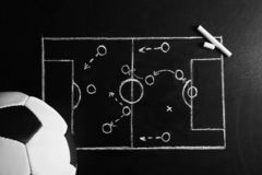 Chalkboard with football game scheme and soccer ball. Top view royalty free stock photos