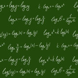 Chalkboard formulae seamless pattern. Seamless pattern with logarithms formulae drawn on green chalkboard Stock Images