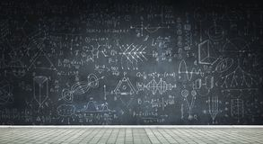 Chalkboard with formulas. Background conceptual image with science sketches on chalkboard royalty free illustration
