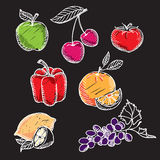 Chalkboard fruit set. Vector with graphic elements Stock Photo