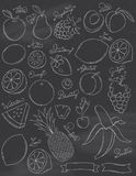 Chalkboard Fruits. A collection of various Hand drawn fruit in a chalkboard style. Easy to Edit! EPS 10. Two Layers. Transparencies Royalty Free Stock Photo