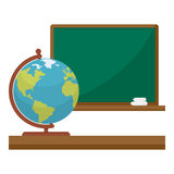 Chalkboard and Globe Flat Icon on White Stock Photography