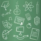 Chalkboard with graduation icons Royalty Free Stock Image