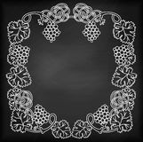 Chalkboard with grape frame Royalty Free Stock Photography