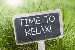 Chalkboard with time to relax royalty free stock photo