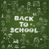 Chalkboard with green surface. Set of Kid's drawing Stock Photography
