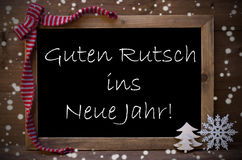 Chalkboard Guten Rutsch Ins Neue Jahr Means New Year, Snowflakes Royalty Free Stock Photography