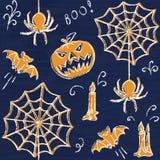 Chalkboard Halloween seamless pattern Royalty Free Stock Photos