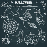 Chalkboard Halloween silhouette set Royalty Free Stock Photography