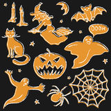 Chalkboard Halloween silhouette set Stock Images