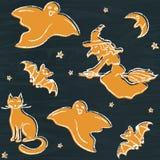 Chalkboard Halloween silhouettes pattern Stock Photos