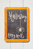 Chalkboard, Halloween, spider and Happy hour Royalty Free Stock Images