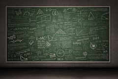 Chalkboard with hand drawings. And writings on it royalty free illustration