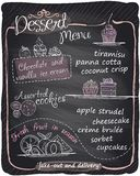 Chalkboard hand drawn dessert menu. Royalty Free Stock Photography