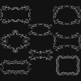 Chalkboard Hand-Drawn Flourish Swirl Border Frame. Swirls Design Elements Stock Image