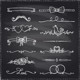 Chalkboard hand drawn graphic elements. Royalty Free Stock Images