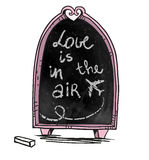 Chalkboard. Hand drawn. Love is in the air sign. Stock Photography